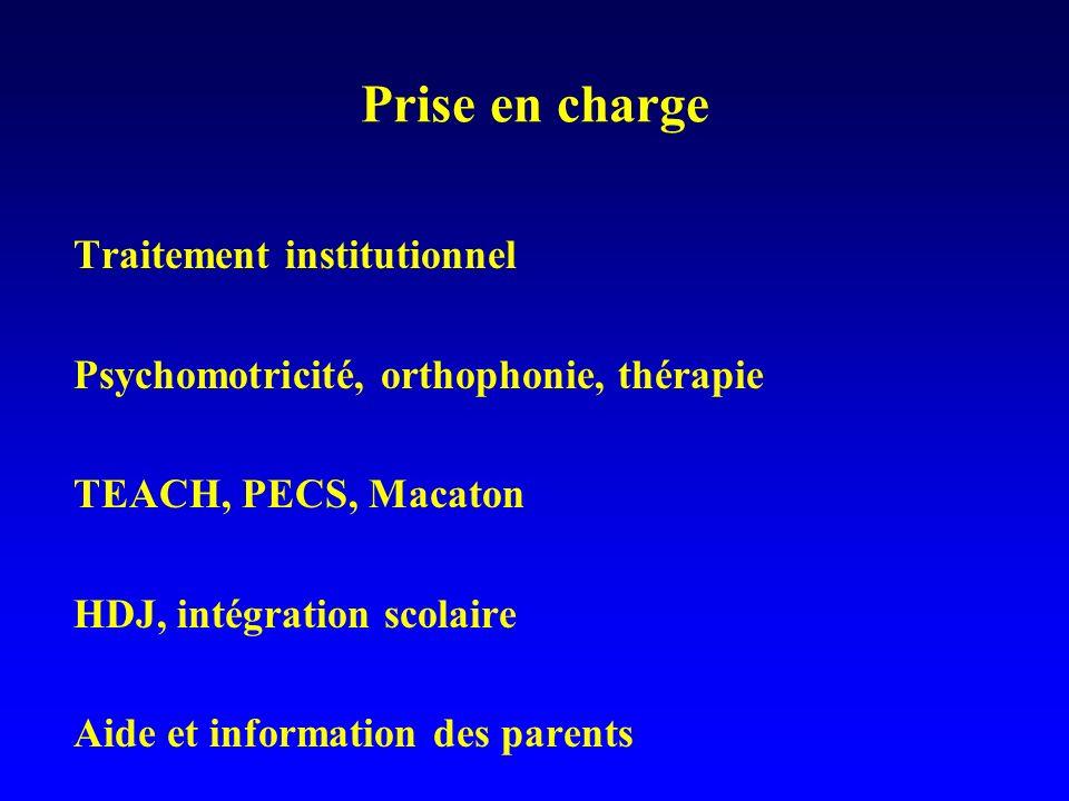 Prise en charge Traitement institutionnel Psychomotricité, orthophonie, thérapie TEACH, PECS, Macaton HDJ, intégration scolaire Aide et information de