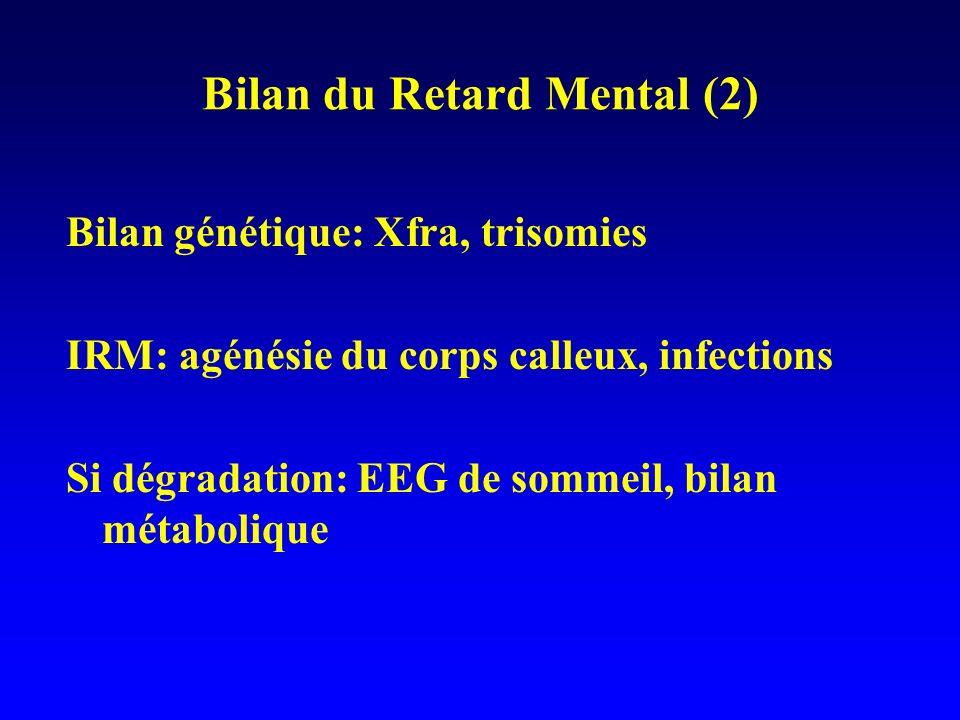 Bilan du Retard Mental (2) Bilan génétique: Xfra, trisomies IRM: agénésie du corps calleux, infections Si dégradation: EEG de sommeil, bilan métaboliq