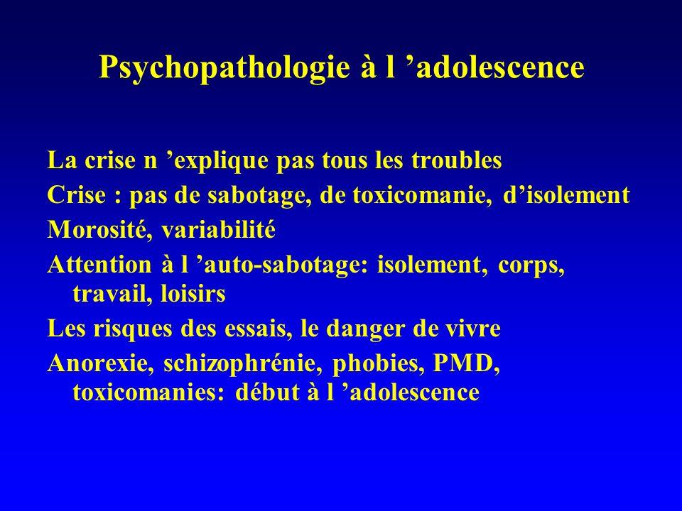 Psychopathologie à l adolescence La crise n explique pas tous les troubles Crise : pas de sabotage, de toxicomanie, disolement Morosité, variabilité A