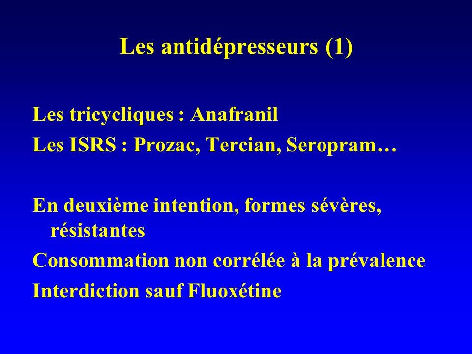Les antidépresseurs (1) Les tricycliques : Anafranil Les ISRS : Prozac, Tercian, Seropram… En deuxième intention, formes sévères, résistantes Consomma