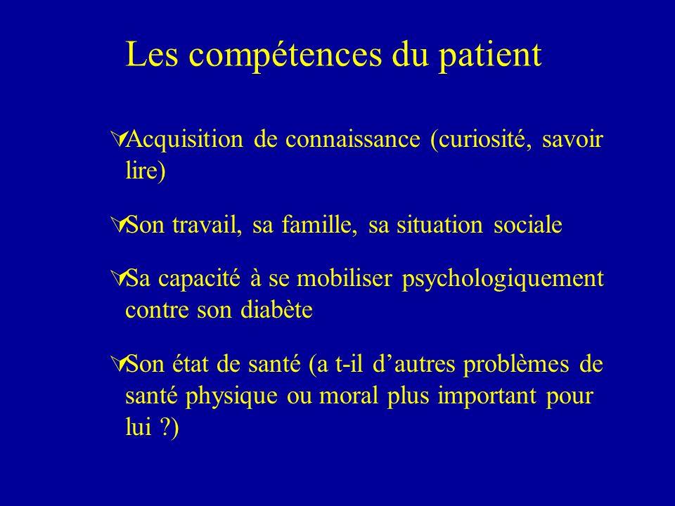 Les compétences du patient ÚAcquisition de connaissance (curiosité, savoir lire) ÚSon travail, sa famille, sa situation sociale ÚSa capacité à se mobi