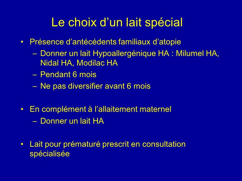 Le choix dun lait spécial Présence dantécédents familiaux datopie –Donner un lait Hypoallergénique HA : Milumel HA, Nidal HA, Modilac HA –Pendant 6 mo