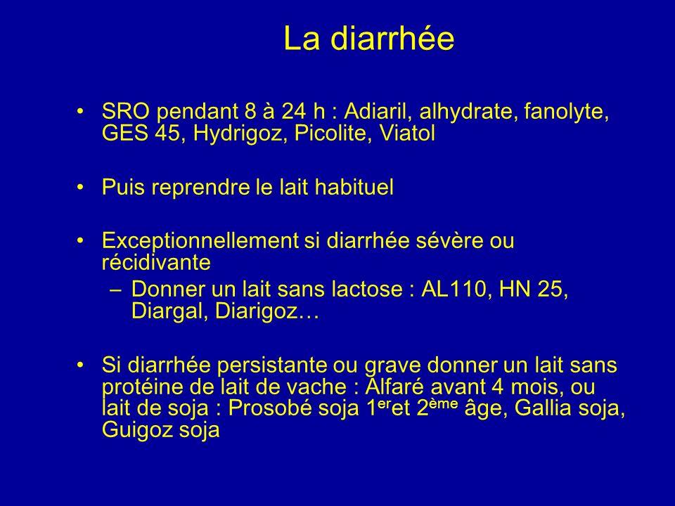 La diarrhée SRO pendant 8 à 24 h : Adiaril, alhydrate, fanolyte, GES 45, Hydrigoz, Picolite, Viatol Puis reprendre le lait habituel Exceptionnellement