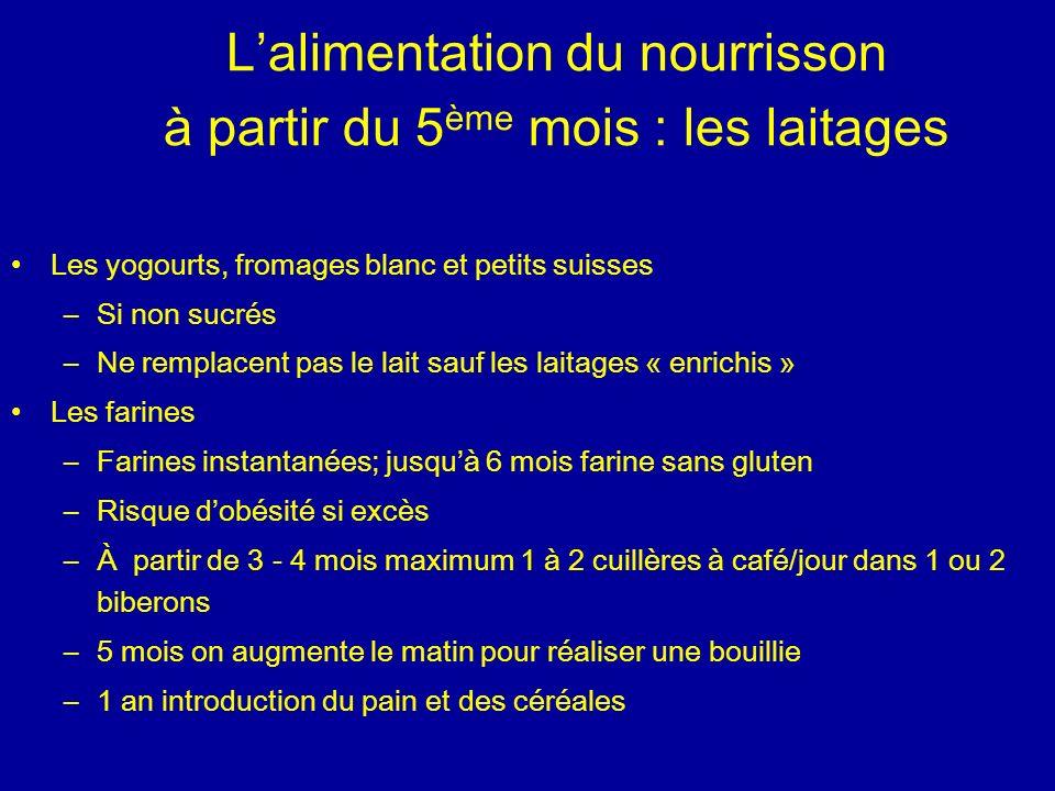 Lalimentation du nourrisson à partir du 5 ème mois : les laitages Les yogourts, fromages blanc et petits suisses –Si non sucrés –Ne remplacent pas le