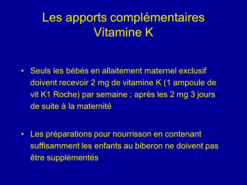 Les apports complémentaires Vitamine K Seuls les bébés en allaitement maternel exclusif doivent recevoir 2 mg de vitamine K (1 ampoule de vit K1 Roche