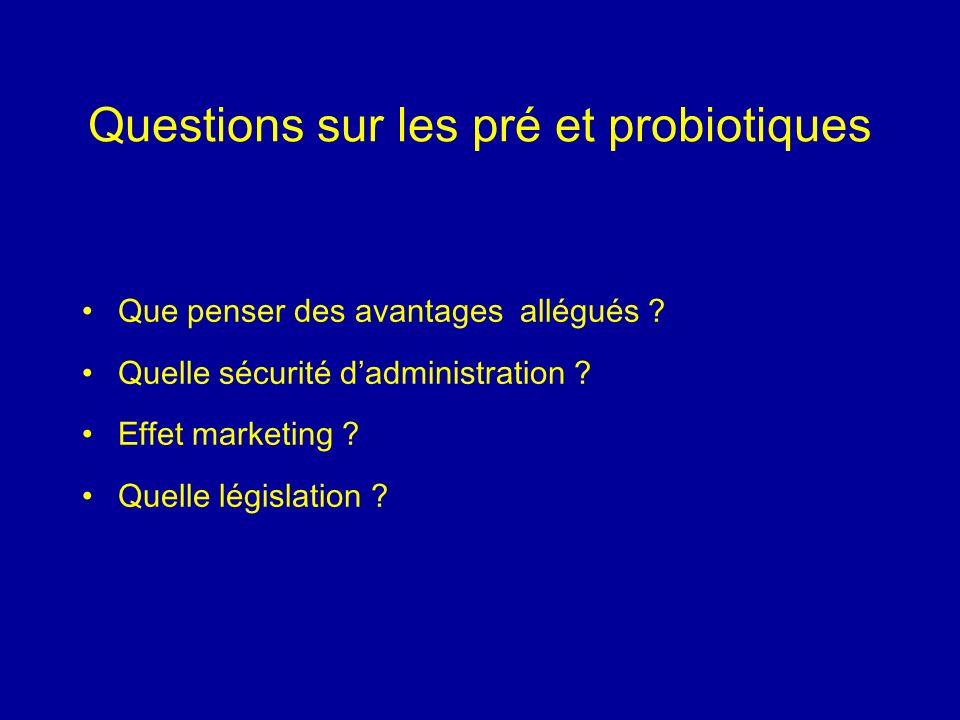 Questions sur les pré et probiotiques Que penser des avantages allégués ? Quelle sécurité dadministration ? Effet marketing ? Quelle législation ?