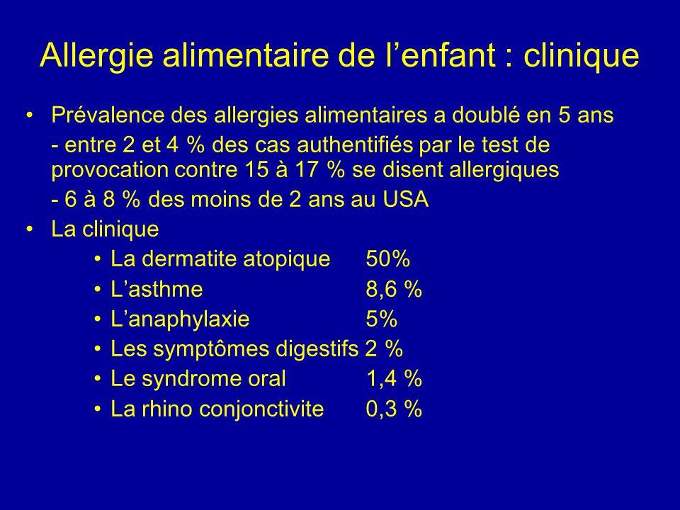 Allergie alimentaire de lenfant : clinique Prévalence des allergies alimentaires a doublé en 5 ans - entre 2 et 4 % des cas authentifiés par le test d