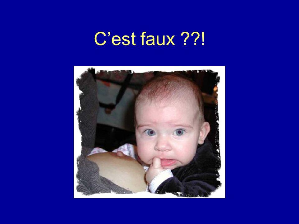 Encourager lallaitement maternel Avantages sur le lait artificiel –Variabilité en fonction de lâge –Présence de facteurs de croissance et dhormones –Défenses immunologiques renforcées –Avantages psycho-affectifs