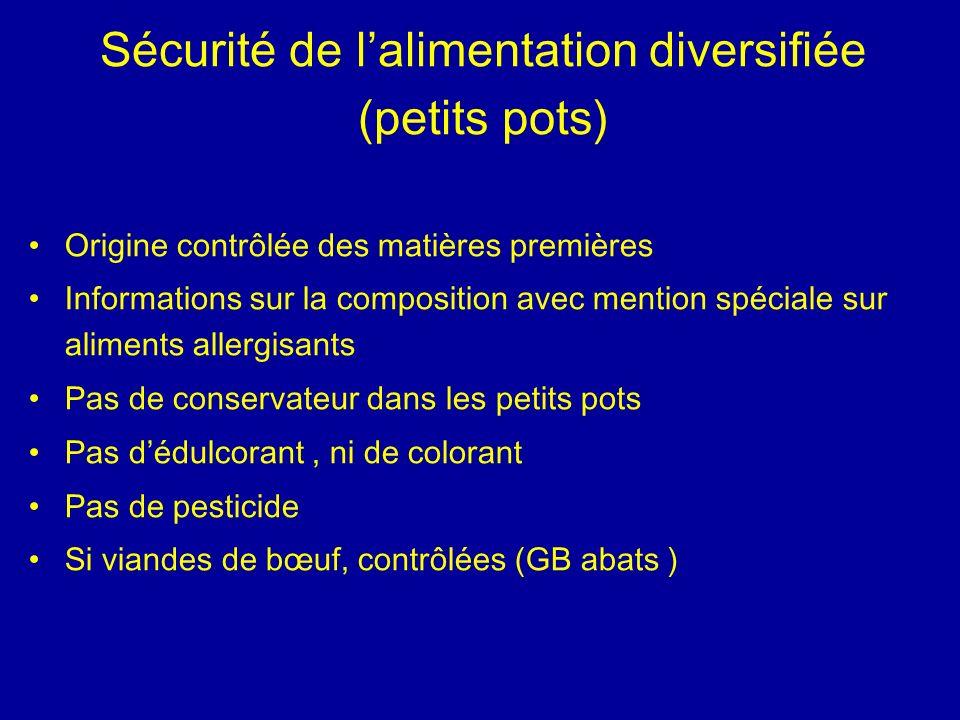 Sécurité de lalimentation diversifiée (petits pots) Origine contrôlée des matières premières Informations sur la composition avec mention spéciale sur