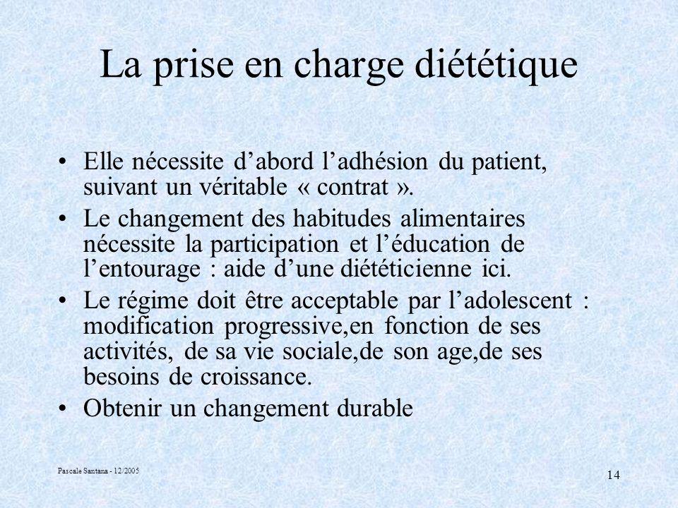 Pascale Santana - 12/2005 14 La prise en charge diététique Elle nécessite dabord ladhésion du patient, suivant un véritable « contrat ».