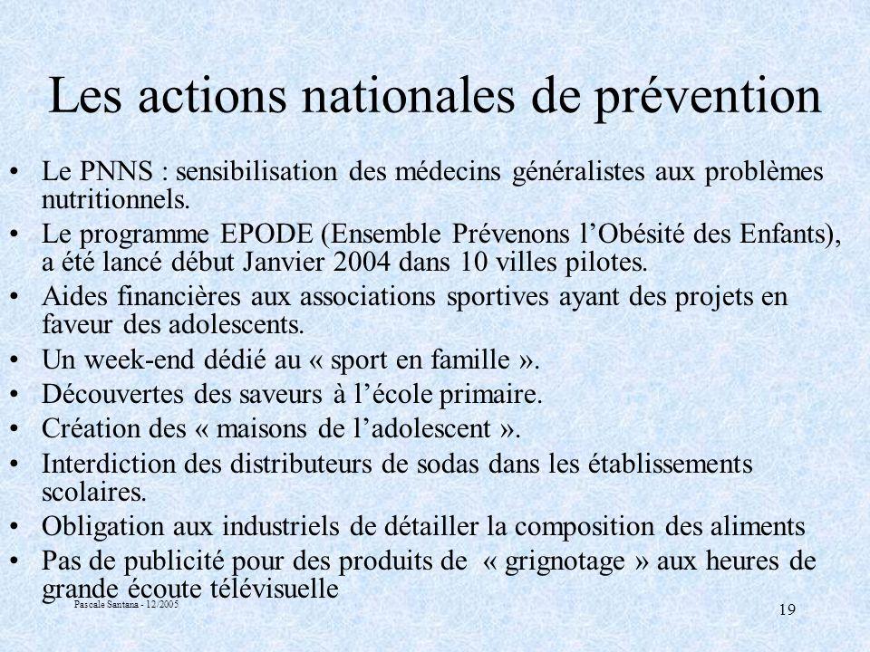 Pascale Santana - 12/2005 19 Les actions nationales de prévention Le PNNS : sensibilisation des médecins généralistes aux problèmes nutritionnels.