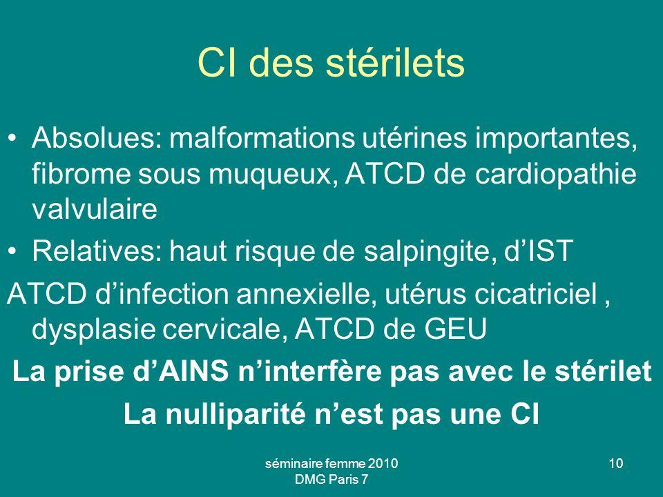 10 CI des stérilets Absolues: malformations utérines importantes, fibrome sous muqueux, ATCD de cardiopathie valvulaire Relatives: haut risque de salp