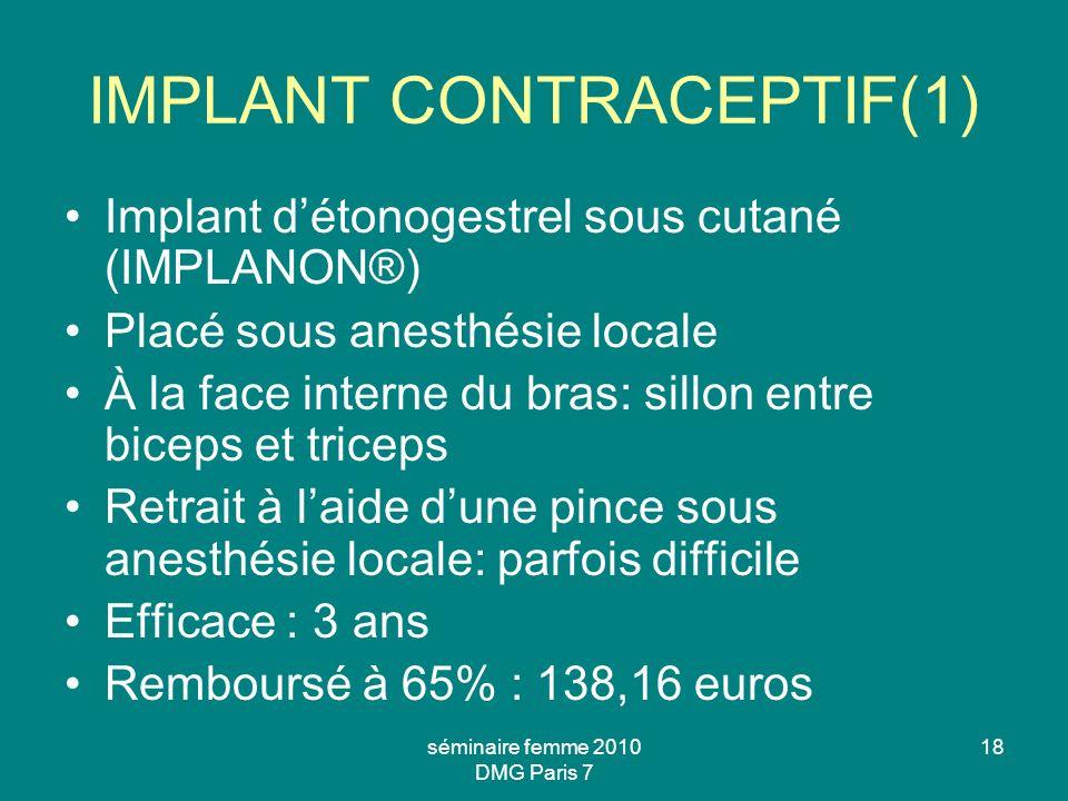 séminaire femme 2010 DMG Paris 7 18 IMPLANT CONTRACEPTIF(1) Implant détonogestrel sous cutané (IMPLANON®) Placé sous anesthésie locale À la face inter
