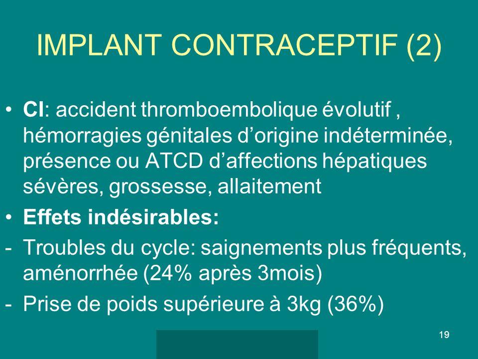 séminaire femme 2010 DMG Paris 7 19 IMPLANT CONTRACEPTIF (2) CI: accident thromboembolique évolutif, hémorragies génitales dorigine indéterminée, prés