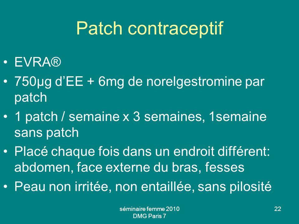 séminaire femme 2010 DMG Paris 7 22 Patch contraceptif EVRA® 750µg dEE + 6mg de norelgestromine par patch 1 patch / semaine x 3 semaines, 1semaine san