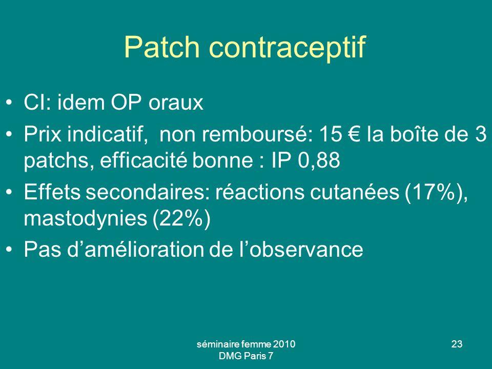 séminaire femme 2010 DMG Paris 7 23 Patch contraceptif CI: idem OP oraux Prix indicatif, non remboursé: 15 la boîte de 3 patchs, efficacité bonne : IP