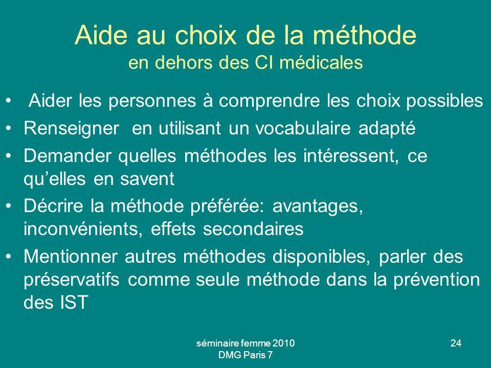 séminaire femme 2010 DMG Paris 7 24 Aide au choix de la méthode en dehors des CI médicales Aider les personnes à comprendre les choix possibles Rensei