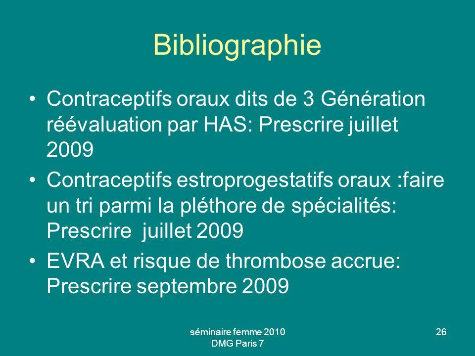Bibliographie Contraceptifs oraux dits de 3 Génération réévaluation par HAS: Prescrire juillet 2009 Contraceptifs estroprogestatifs oraux :faire un tr