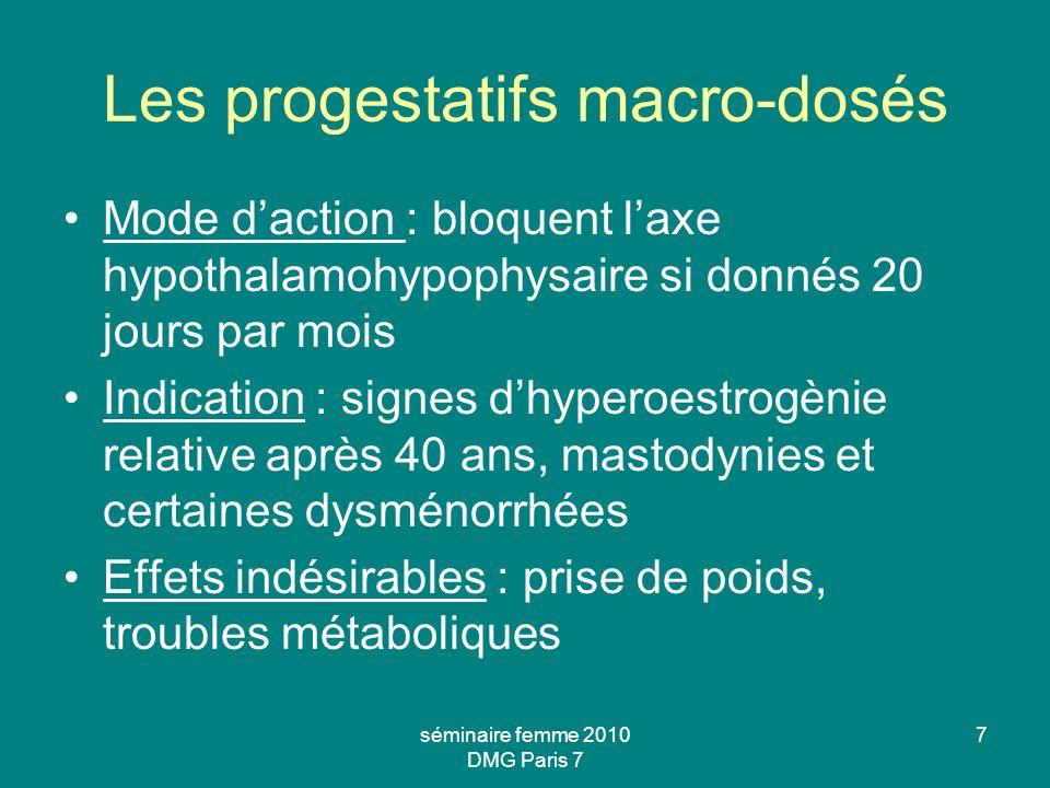 Les progestatifs macro-dosés Mode daction : bloquent laxe hypothalamohypophysaire si donnés 20 jours par mois Indication : signes dhyperoestrogènie re