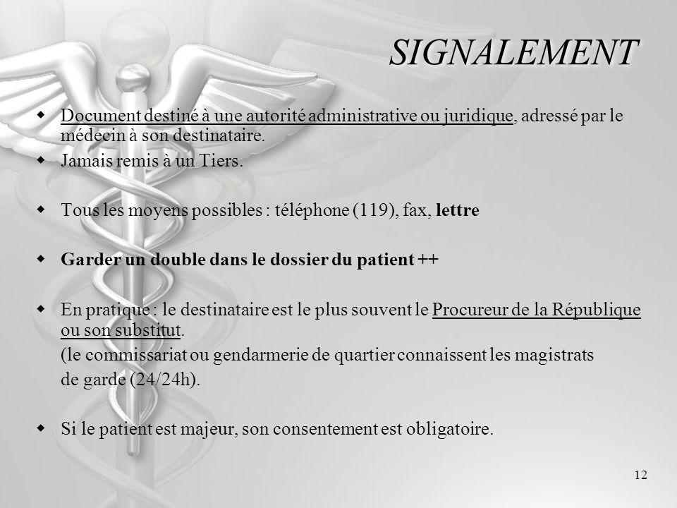 12 SIGNALEMENT Document destiné à une autorité administrative ou juridique, adressé par le médecin à son destinataire. Jamais remis à un Tiers. Tous l