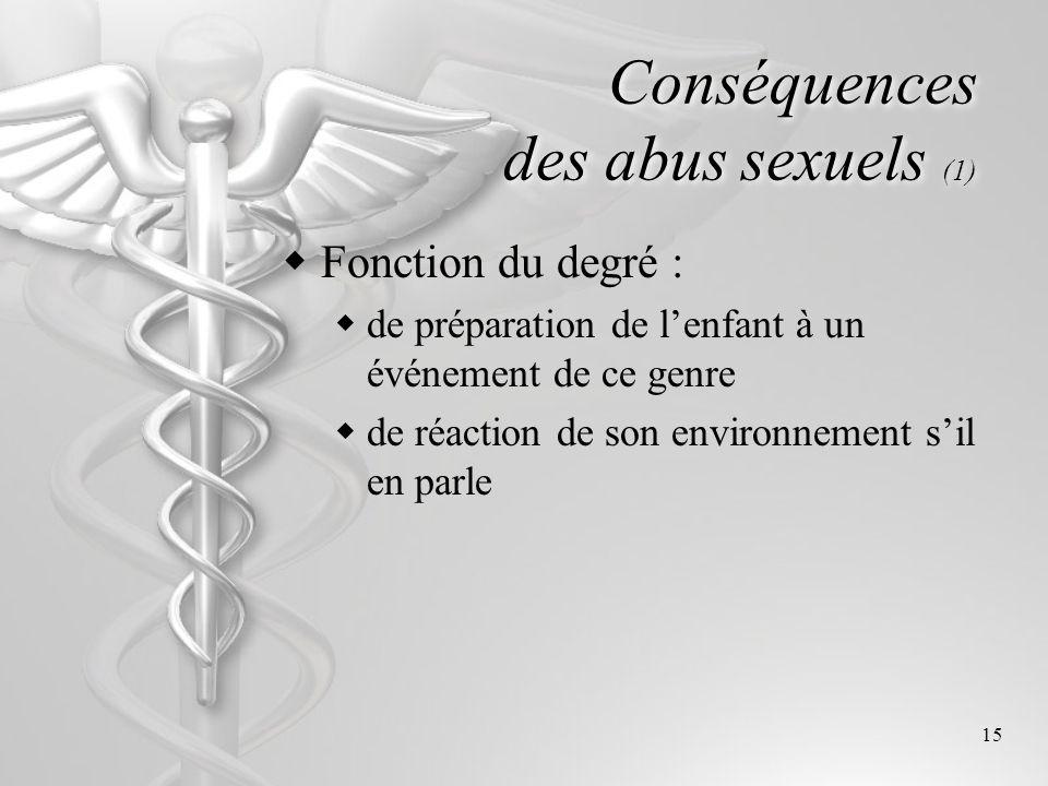 15 Conséquences des abus sexuels (1) Fonction du degré : de préparation de lenfant à un événement de ce genre de réaction de son environnement sil en