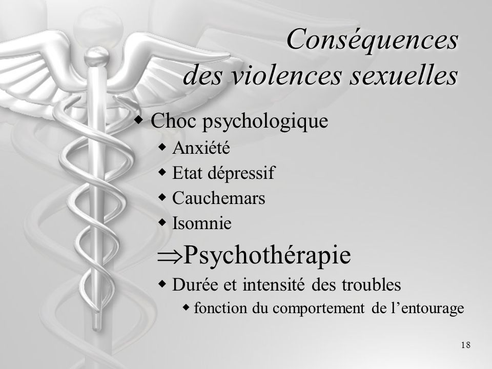 18 Conséquences des violences sexuelles C hoc psychologique A nxiété E tat dépressif C auchemars I somnie Psychothérapie D urée et intensité des troub