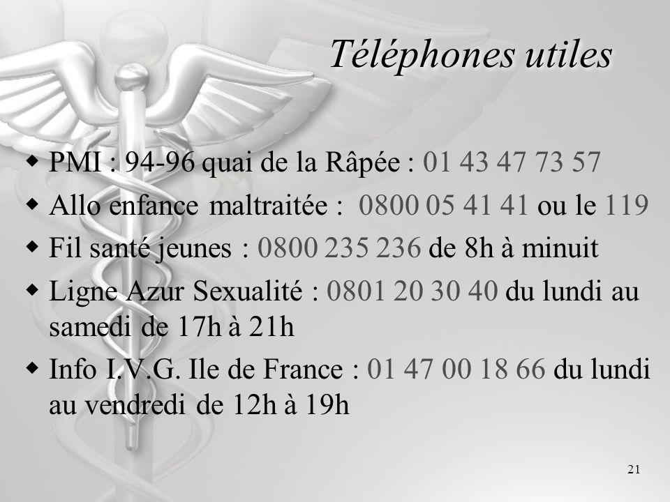 21 Téléphones utiles PMI : 94-96 quai de la Râpée : 01 43 47 73 57 Allo enfance maltraitée : 0800 05 41 41 ou le 119 Fil santé jeunes : 0800 235 236 d