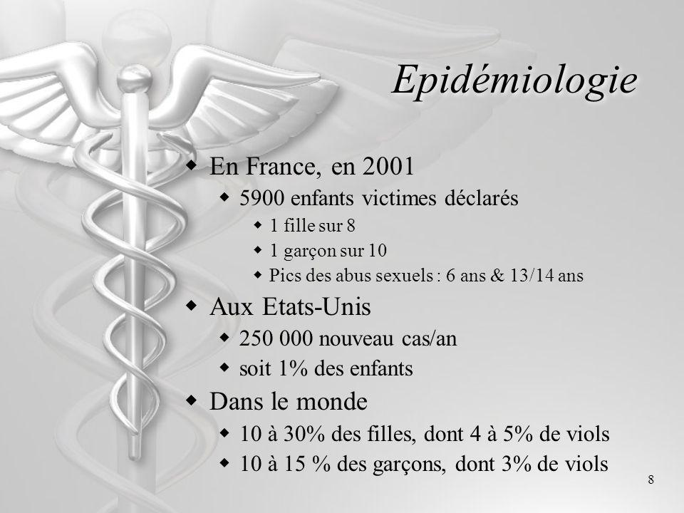 8 Epidémiologie En France, en 2001 5900 enfants victimes déclarés 1 fille sur 8 1 garçon sur 10 Pics des abus sexuels : 6 ans & 13/14 ans Aux Etats-Un