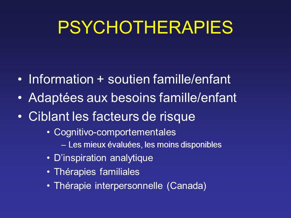 PSYCHOTHERAPIES Information + soutien famille/enfant Adaptées aux besoins famille/enfant Ciblant les facteurs de risque Cognitivo-comportementales –Le