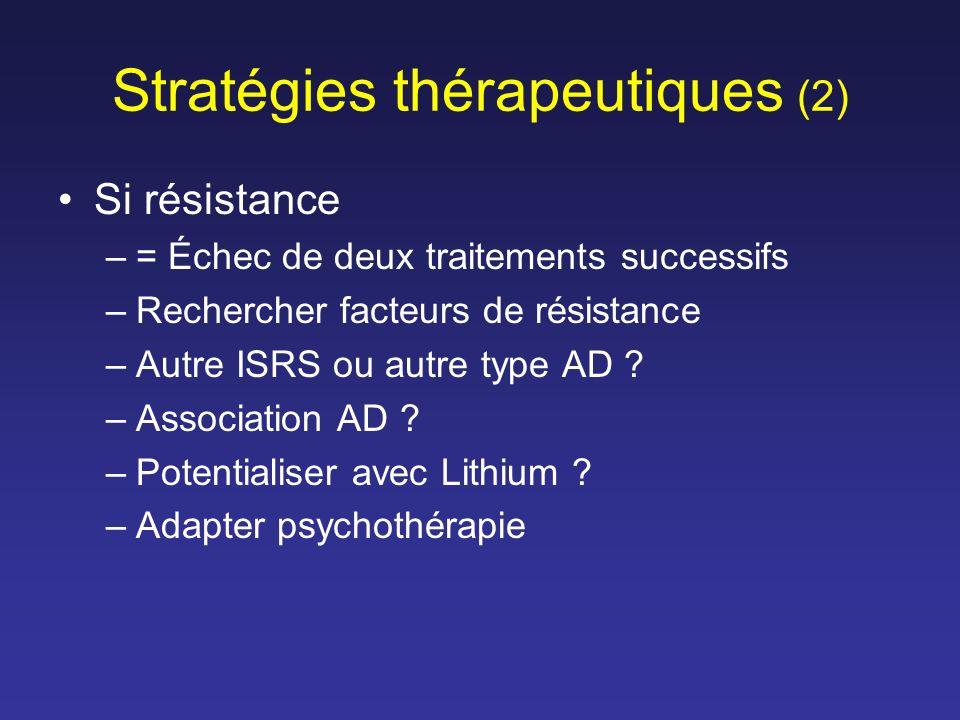 Stratégies thérapeutiques (2) Si résistance –= Échec de deux traitements successifs –Rechercher facteurs de résistance –Autre ISRS ou autre type AD ?