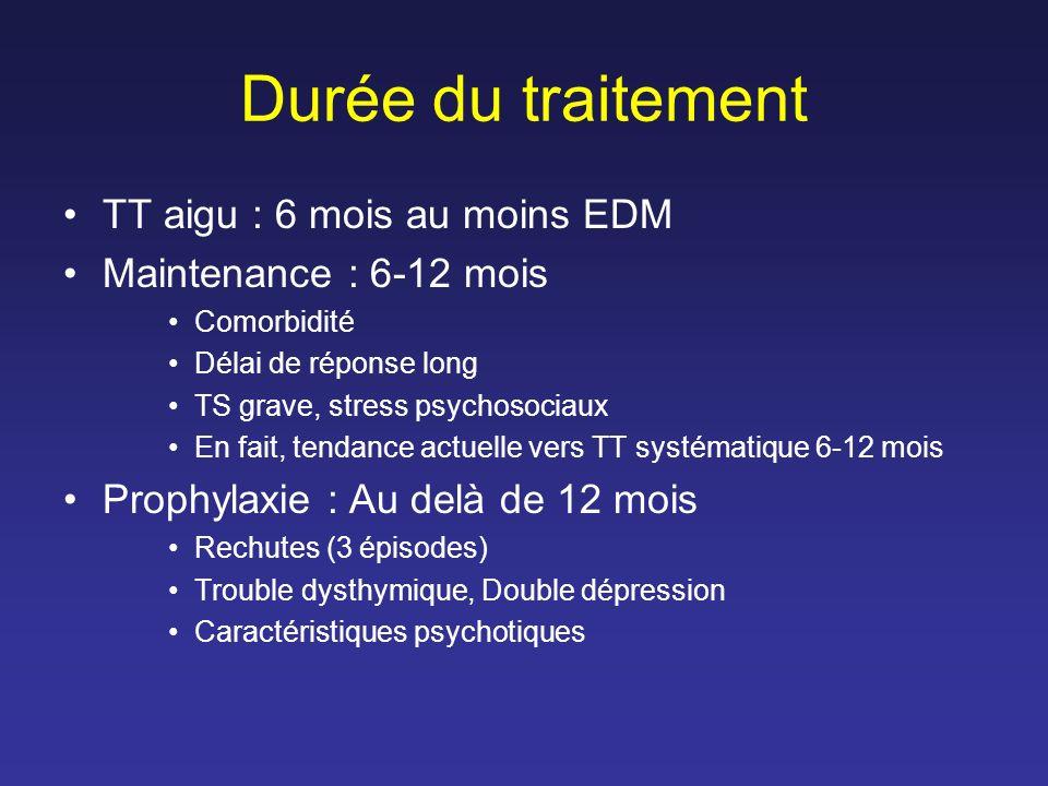 Durée du traitement TT aigu : 6 mois au moins EDM Maintenance : 6-12 mois Comorbidité Délai de réponse long TS grave, stress psychosociaux En fait, te