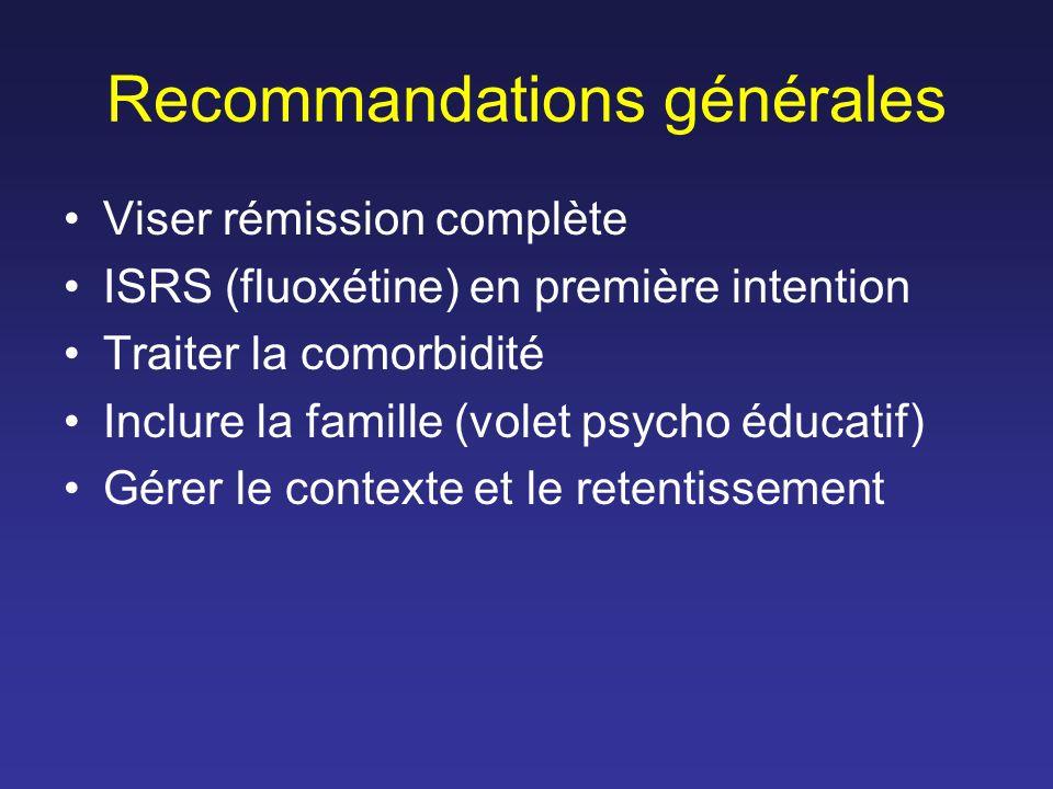 Recommandations générales Viser rémission complète ISRS (fluoxétine) en première intention Traiter la comorbidité Inclure la famille (volet psycho édu