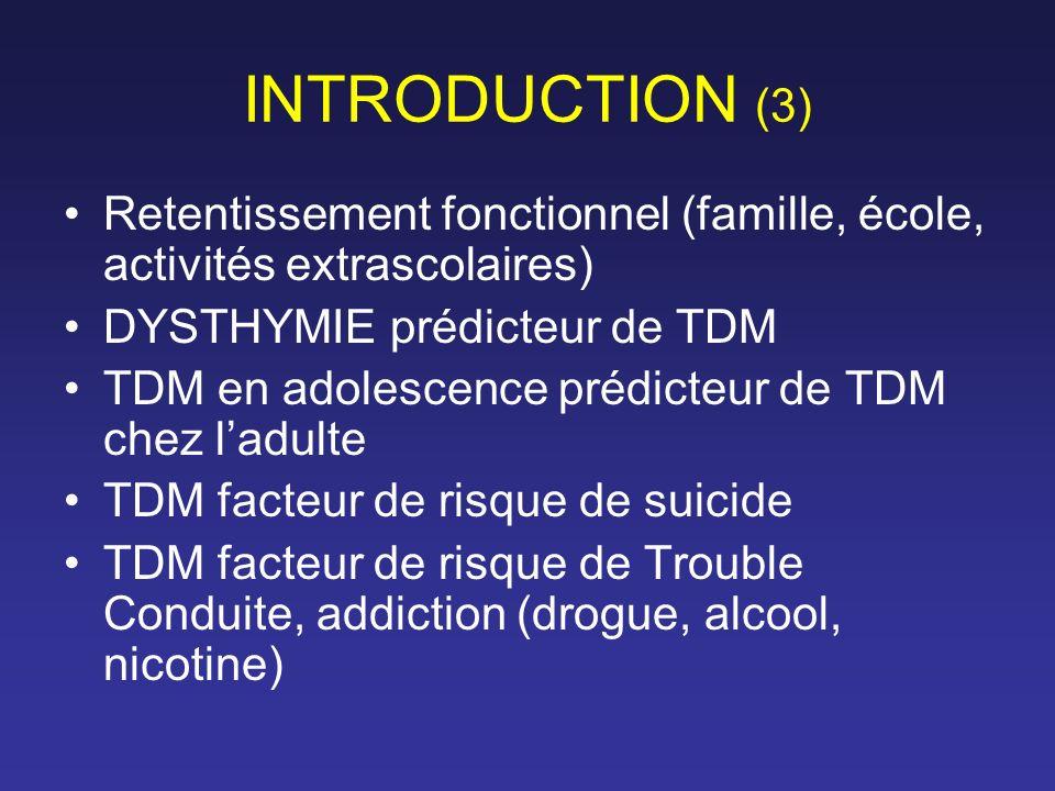 INTRODUCTION (3) Retentissement fonctionnel (famille, école, activités extrascolaires) DYSTHYMIE prédicteur de TDM TDM en adolescence prédicteur de TD