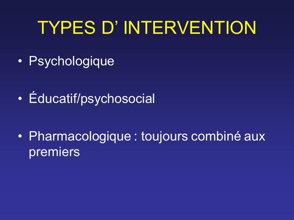 Stratégies thérapeutiques (2) Si résistance –= Échec de deux traitements successifs –Rechercher facteurs de résistance –Autre ISRS ou autre type AD .