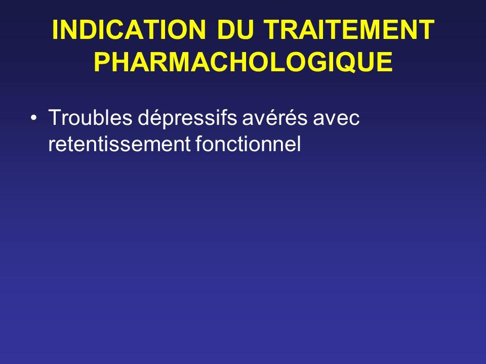 INDICATION DU TRAITEMENT PHARMACHOLOGIQUE Troubles dépressifs avérés avec retentissement fonctionnel