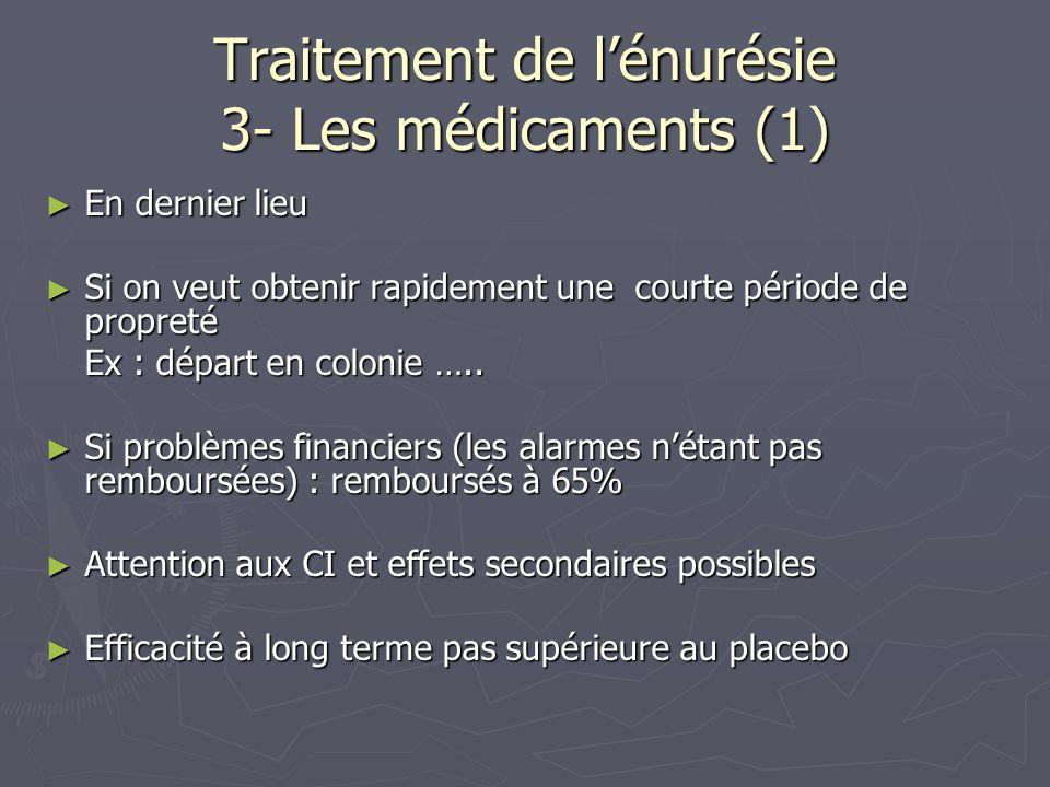 Traitement de lénurésie 3- Les médicaments (1) En dernier lieu En dernier lieu Si on veut obtenir rapidement une courte période de propreté Si on veut