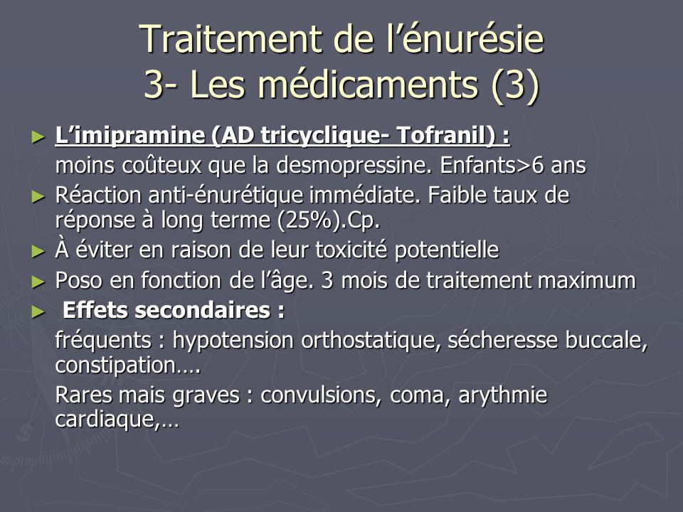 Traitement de lénurésie 3- Les médicaments (3) Limipramine (AD tricyclique- Tofranil) : Limipramine (AD tricyclique- Tofranil) : moins coûteux que la