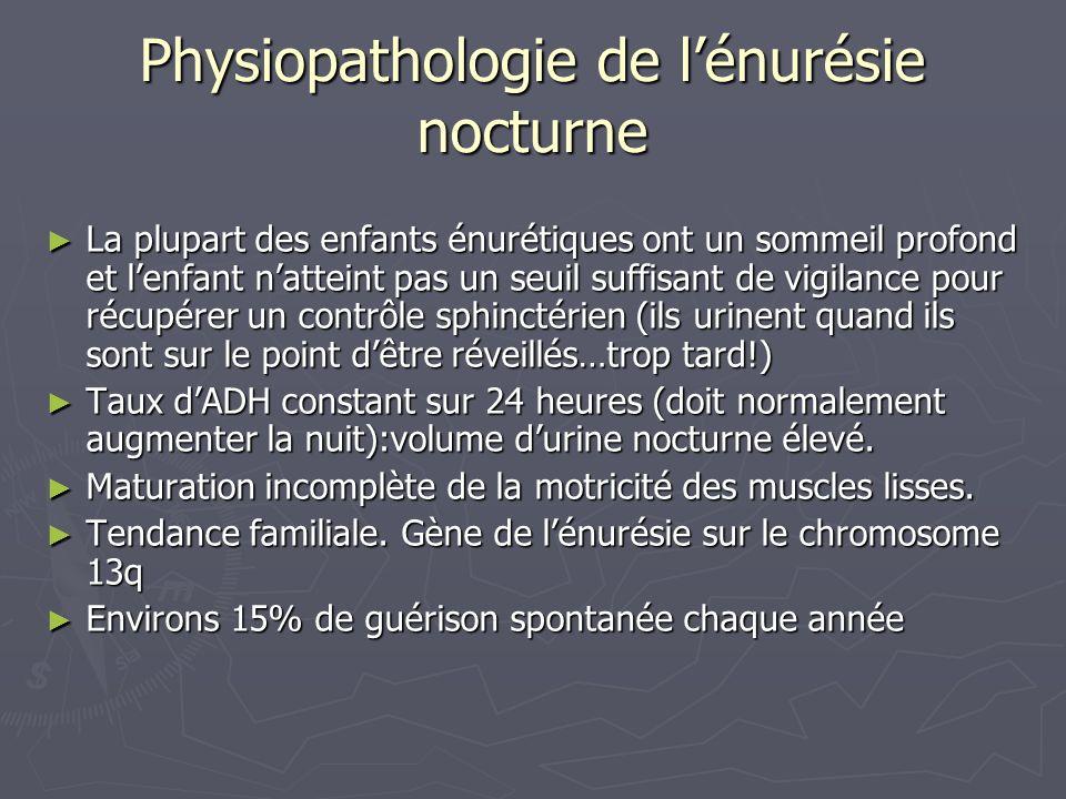 Physiopathologie de lénurésie nocturne La plupart des enfants énurétiques ont un sommeil profond et lenfant natteint pas un seuil suffisant de vigilan