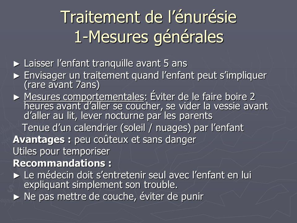 Traitement de lénurésie 1-Mesures générales Laisser lenfant tranquille avant 5 ans Laisser lenfant tranquille avant 5 ans Envisager un traitement quan