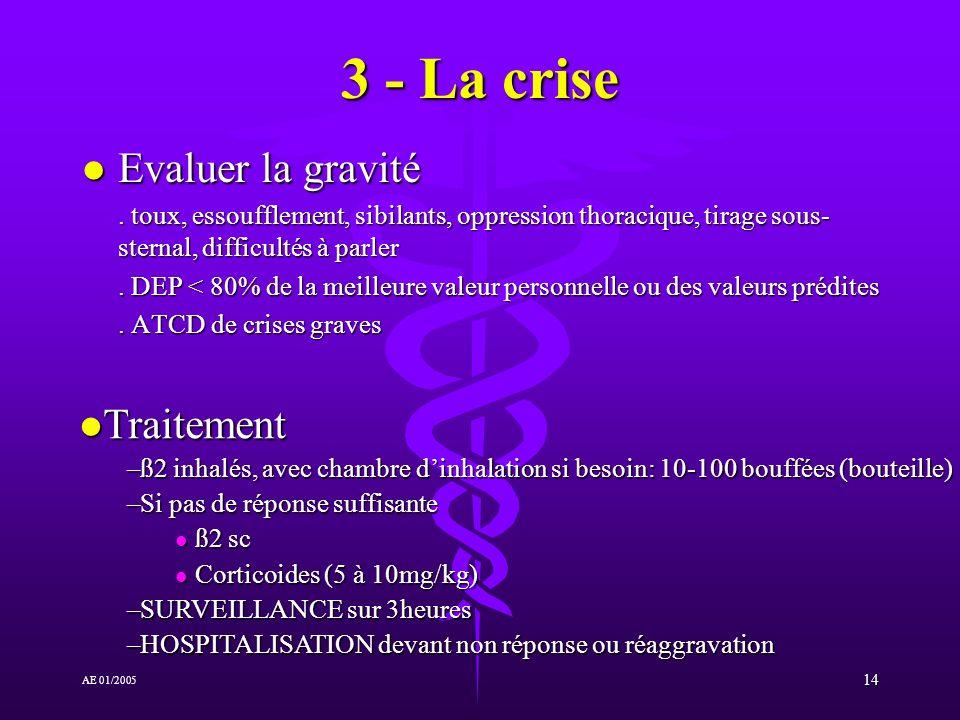 14 AE 01/2005 3 - La crise l Evaluer la gravité.