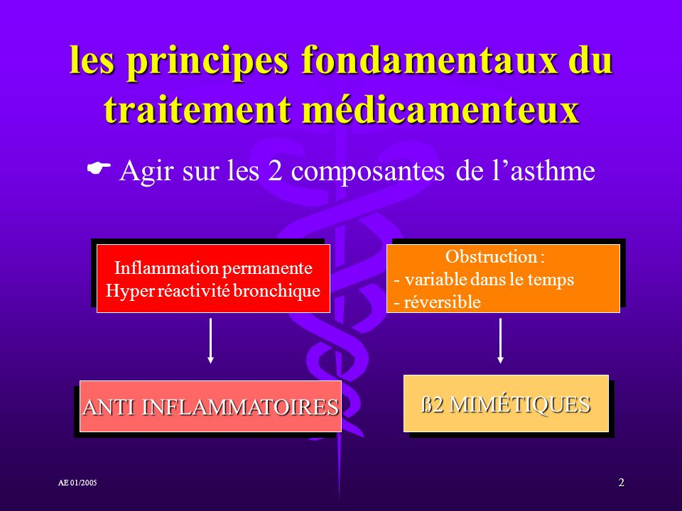 2 AE 01/2005 les principes fondamentaux du traitement médicamenteux Inflammation permanente Hyper réactivité bronchique Inflammation permanente Hyper réactivité bronchique ANTI INFLAMMATOIRES Obstruction : - - variable dans le temps - réversible Obstruction : - - variable dans le temps - réversible ß2 MIMÉTIQUES Agir sur les 2 composantes de lasthme