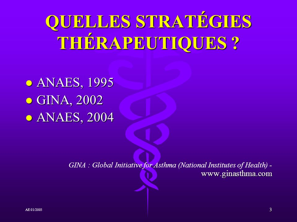 3 AE 01/2005 QUELLES STRATÉGIES THÉRAPEUTIQUES ? l ANAES, 1995 l GINA, 2002 l ANAES, 2004 www.ginasthma.com GINA : Global Initiative for Asthma (Natio