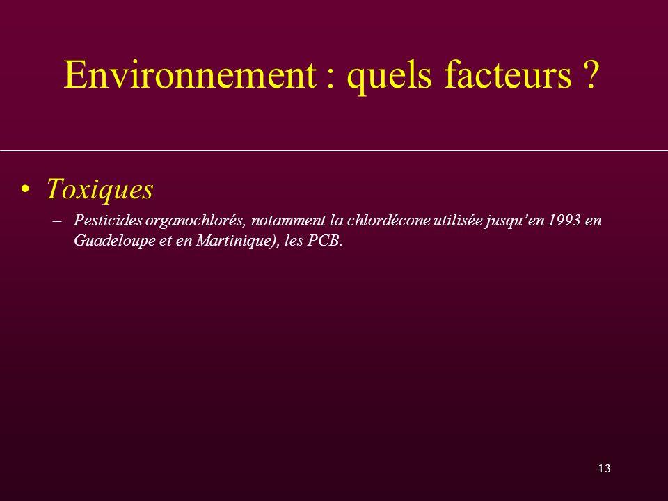 13 Environnement : quels facteurs ? Toxiques –Pesticides organochlorés, notamment la chlordécone utilisée jusquen 1993 en Guadeloupe et en Martinique)