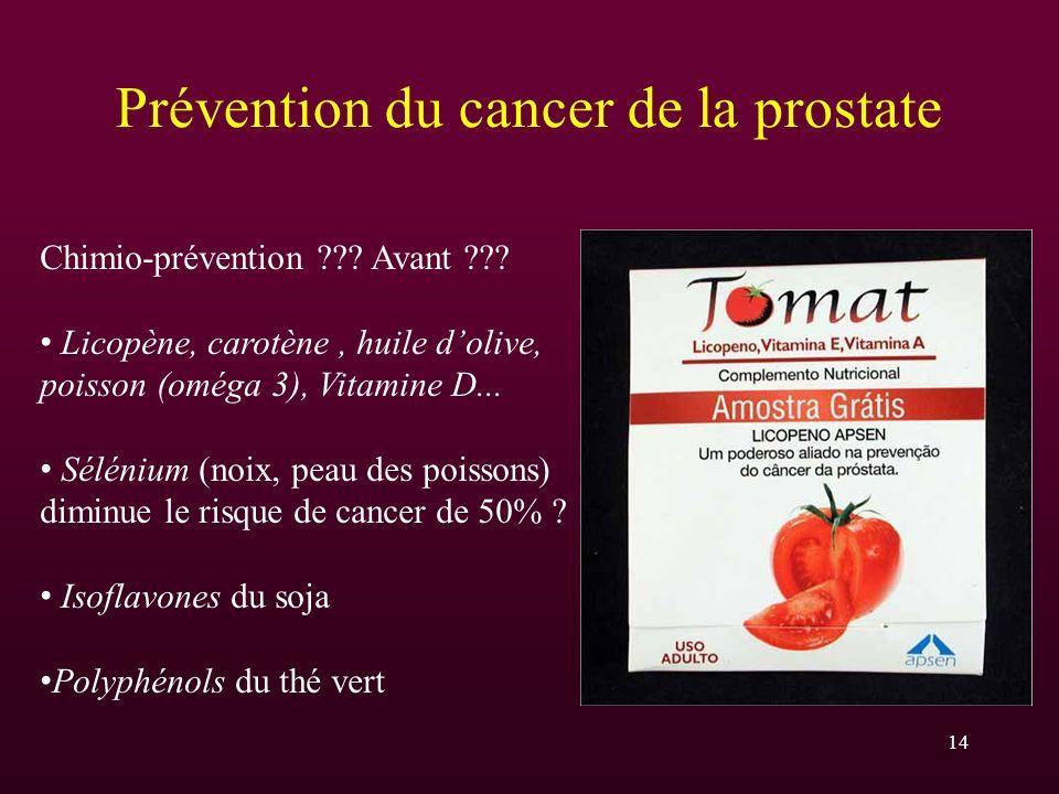 14 Prévention du cancer de la prostate Chimio-prévention ??? Avant ??? Licopène, carotène, huile dolive, poisson (oméga 3), Vitamine D... Sélénium (no