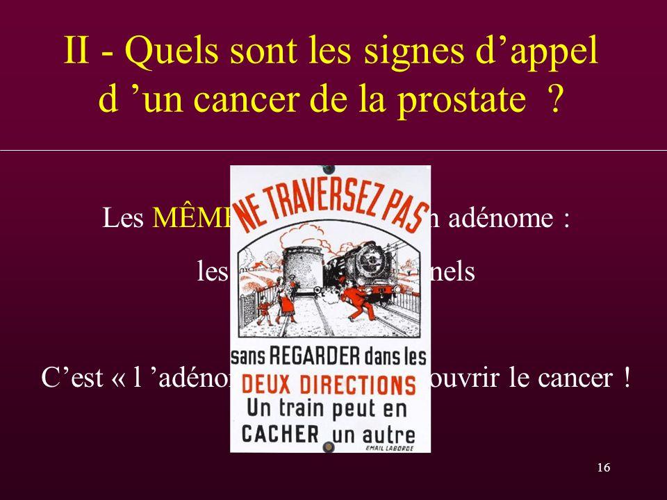 16 II - Quels sont les signes dappel d un cancer de la prostate ? Les MÊMES que ceux d un adénome : les troubles mictionnels Cest « l adénome » qui fa