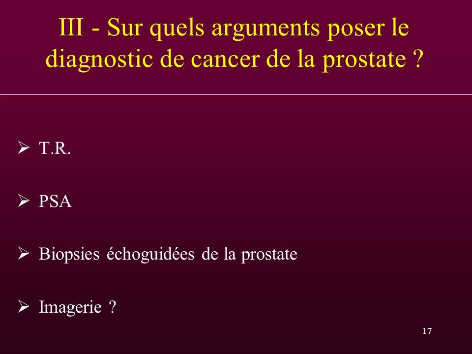 17 III - Sur quels arguments poser le diagnostic de cancer de la prostate ? T.R. PSA Biopsies échoguidées de la prostate Imagerie ?