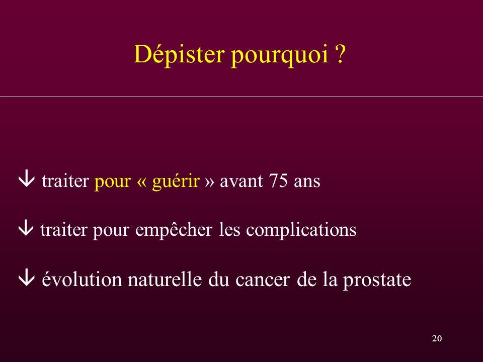 20 Dépister pourquoi ? traiter pour « guérir » avant 75 ans traiter pour empêcher les complications évolution naturelle du cancer de la prostate