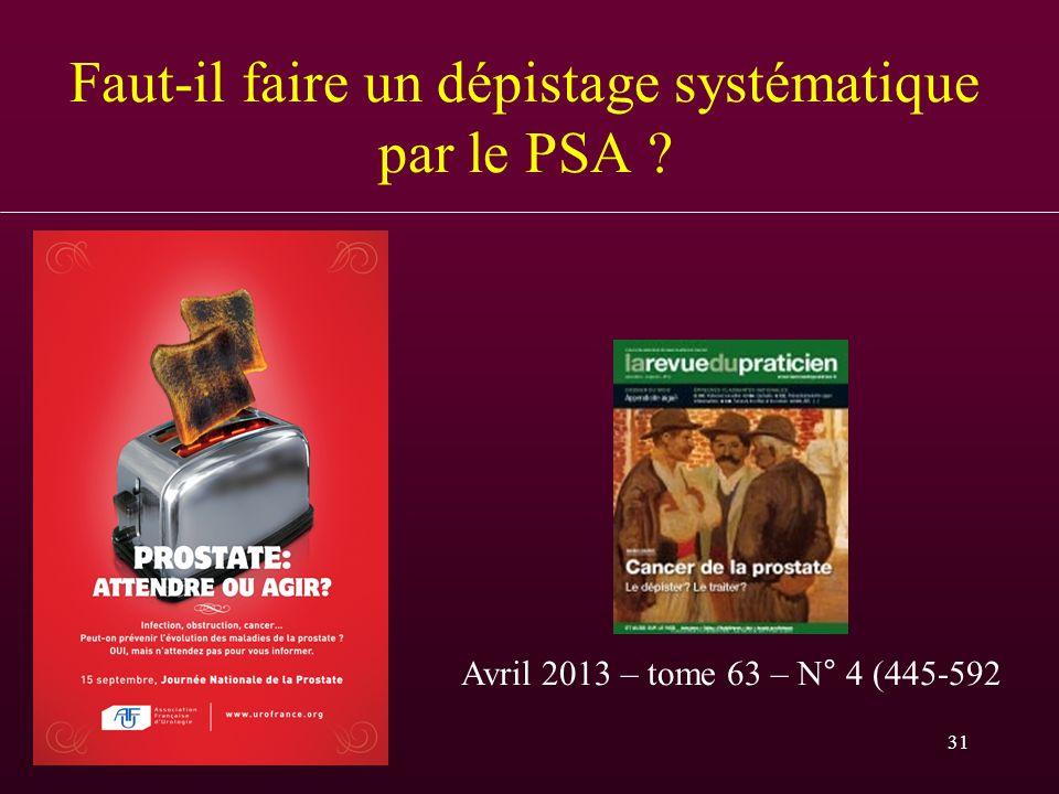 31 Faut-il faire un dépistage systématique par le PSA ? Avril 2013 – tome 63 – N° 4 (445-592