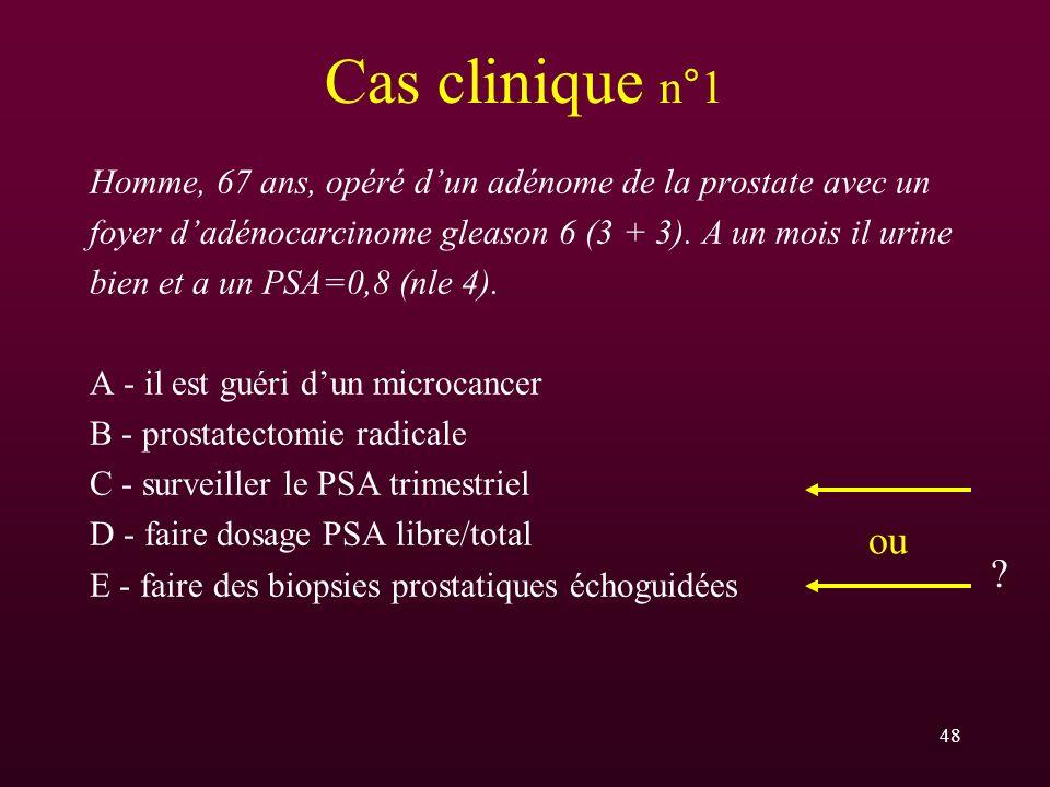 48 Cas clinique n°1 Homme, 67 ans, opéré dun adénome de la prostate avec un foyer dadénocarcinome gleason 6 (3 + 3). A un mois il urine bien et a un P