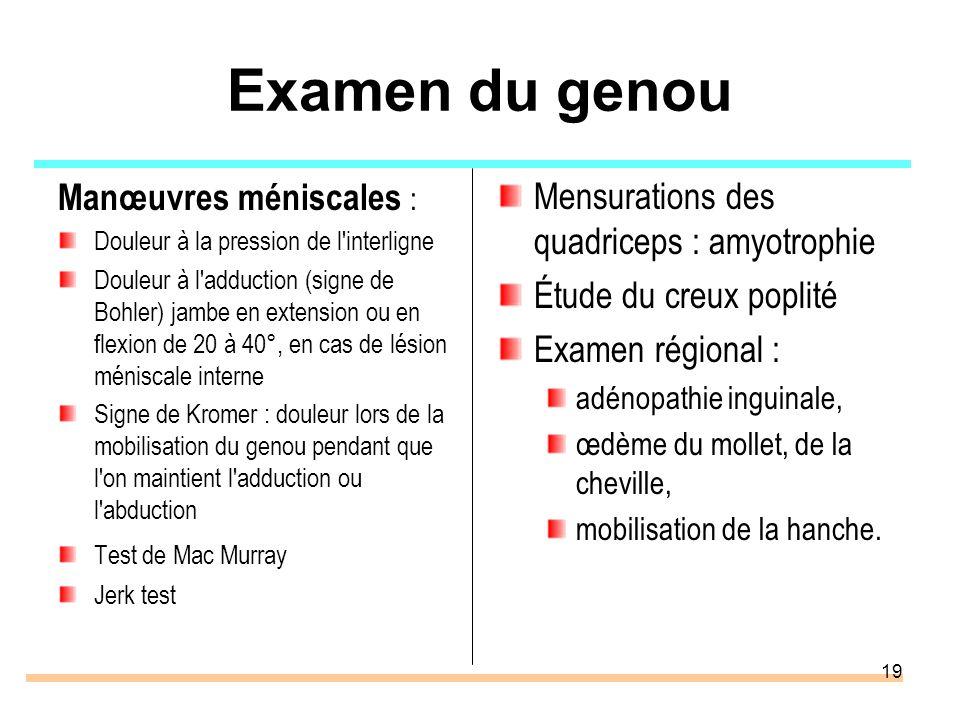 19 Examen du genou Manœuvres méniscales : Douleur à la pression de l'interligne Douleur à l'adduction (signe de Bohler) jambe en extension ou en flexi